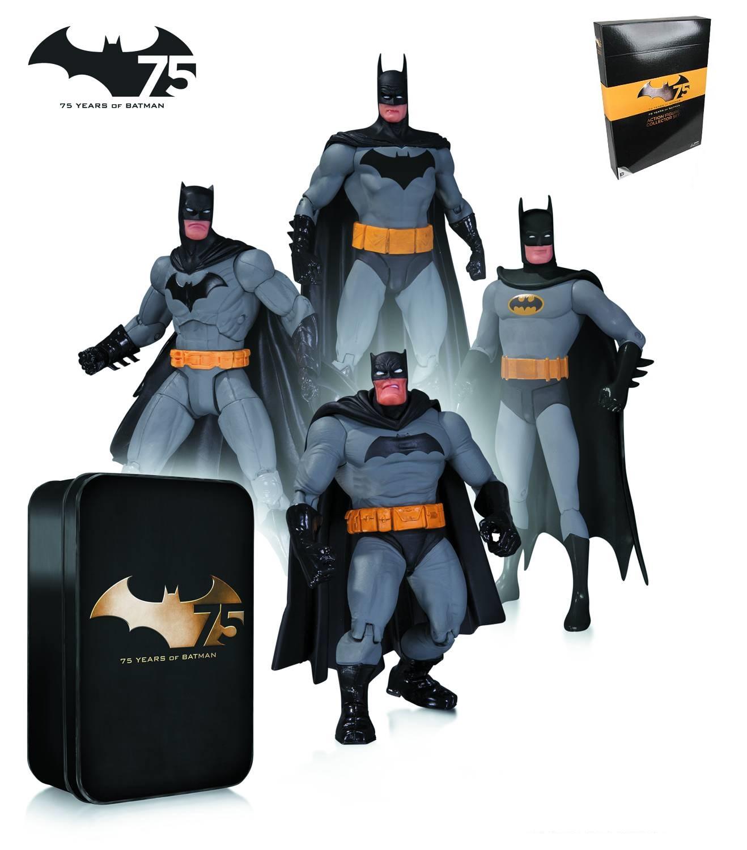 Batman 75th Anniversary Pack deluxe 4 figurines articulées avec boite métal