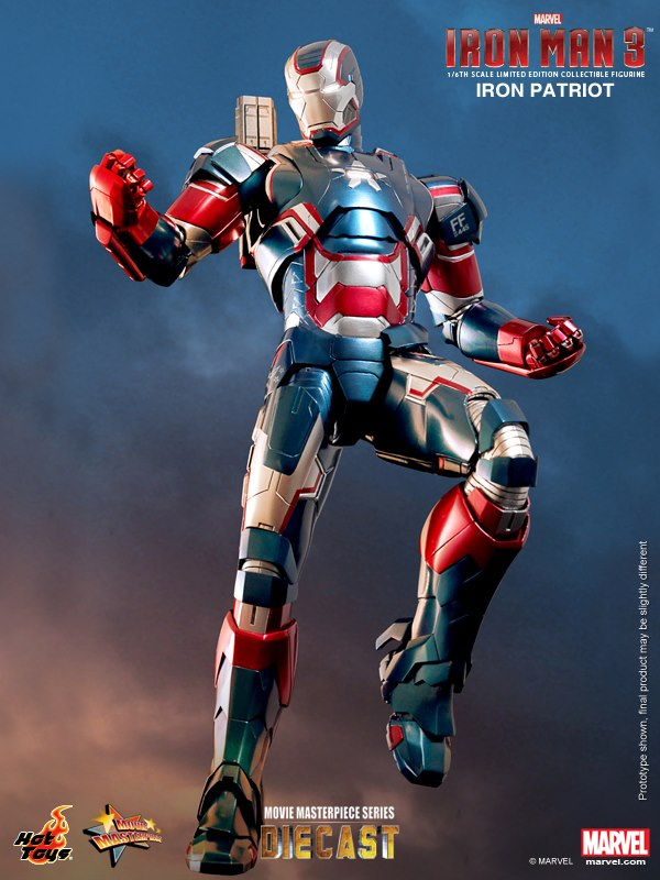 Iron Man 3 Iron Patriot Hot Toys limited Edition Movie Masterpiece Die Cast